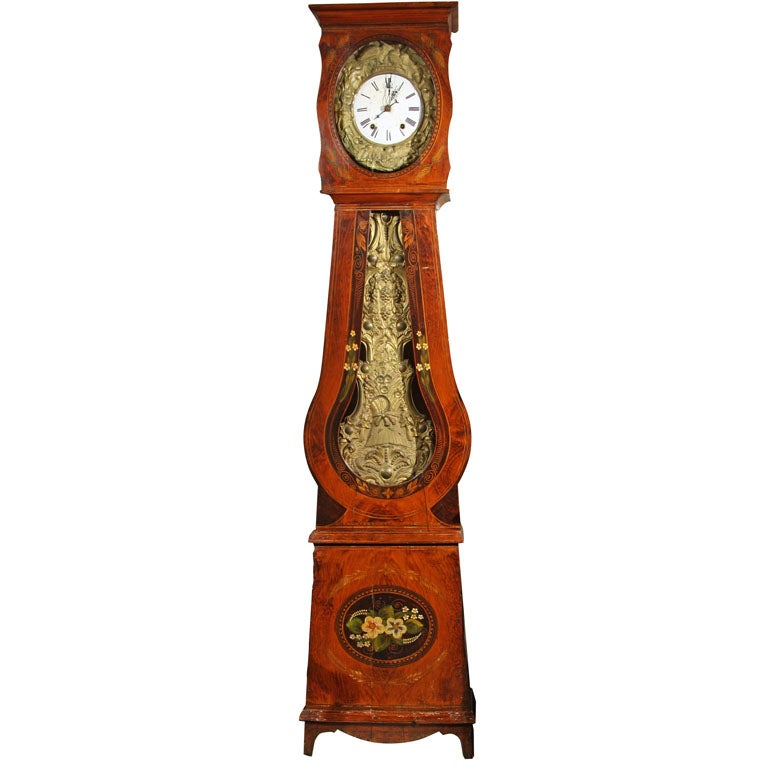 French Painted Tall Case Morbier Clock At 1stdibs