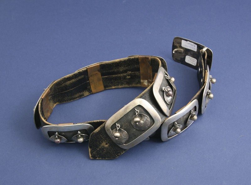 FRANK PATANIA Studio Artist Sterling And Leather Belt