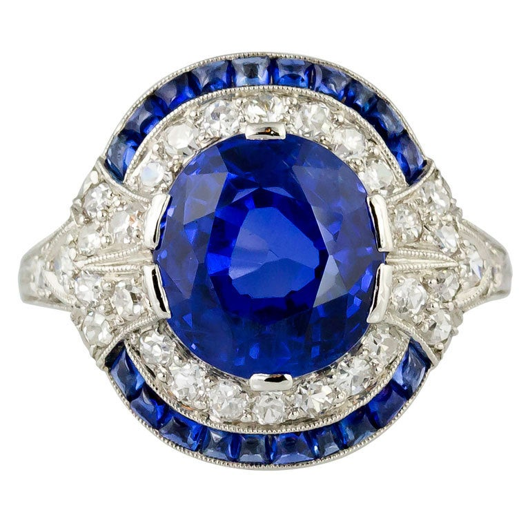 cf6c9043531 Natural Burma Sapphire And Diamond Art Deco Platinum Ring