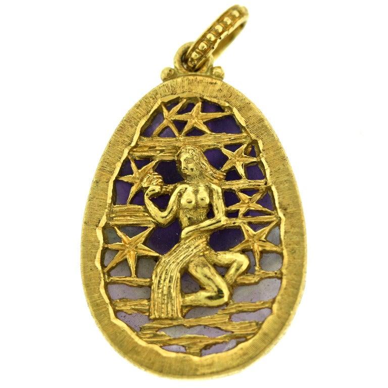 BUCCELLATI Virgo Zodiac Pendant On Amethyst At 1stdibs