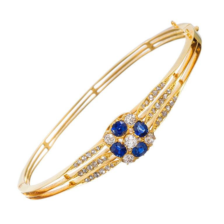 Victorian Sapphire And Diamond Bangle Bracelet At 1stdibs