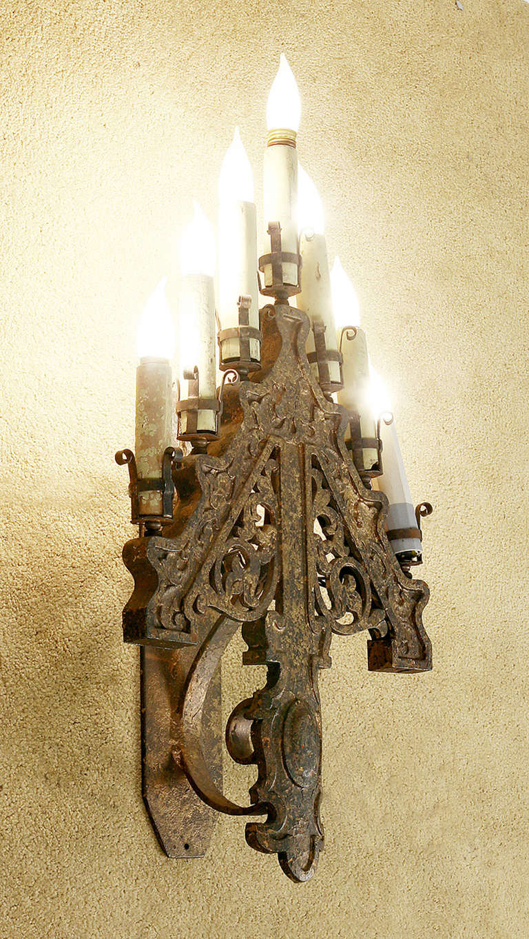 Late Victorian French Gothic Style Candelabra Wall Sconces ... on Victorian Wall Sconces id=78965