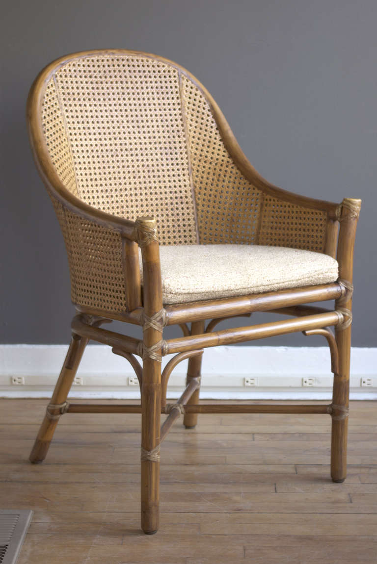 Set Of Six Rattan And Cane Dining Chairs By McGuire At 1stdibs