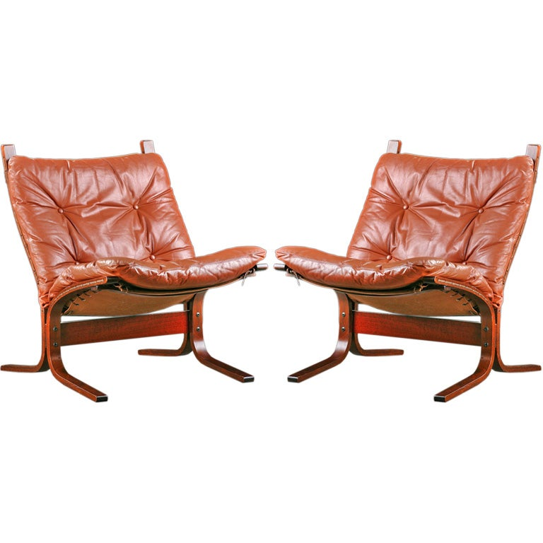 Pair INGMAR RELLING Siesta Chairs With Original Leather
