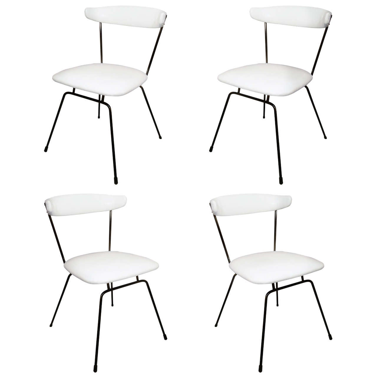 Set Of 4 Iron Dining Chairs By Clifford Pascoe In White