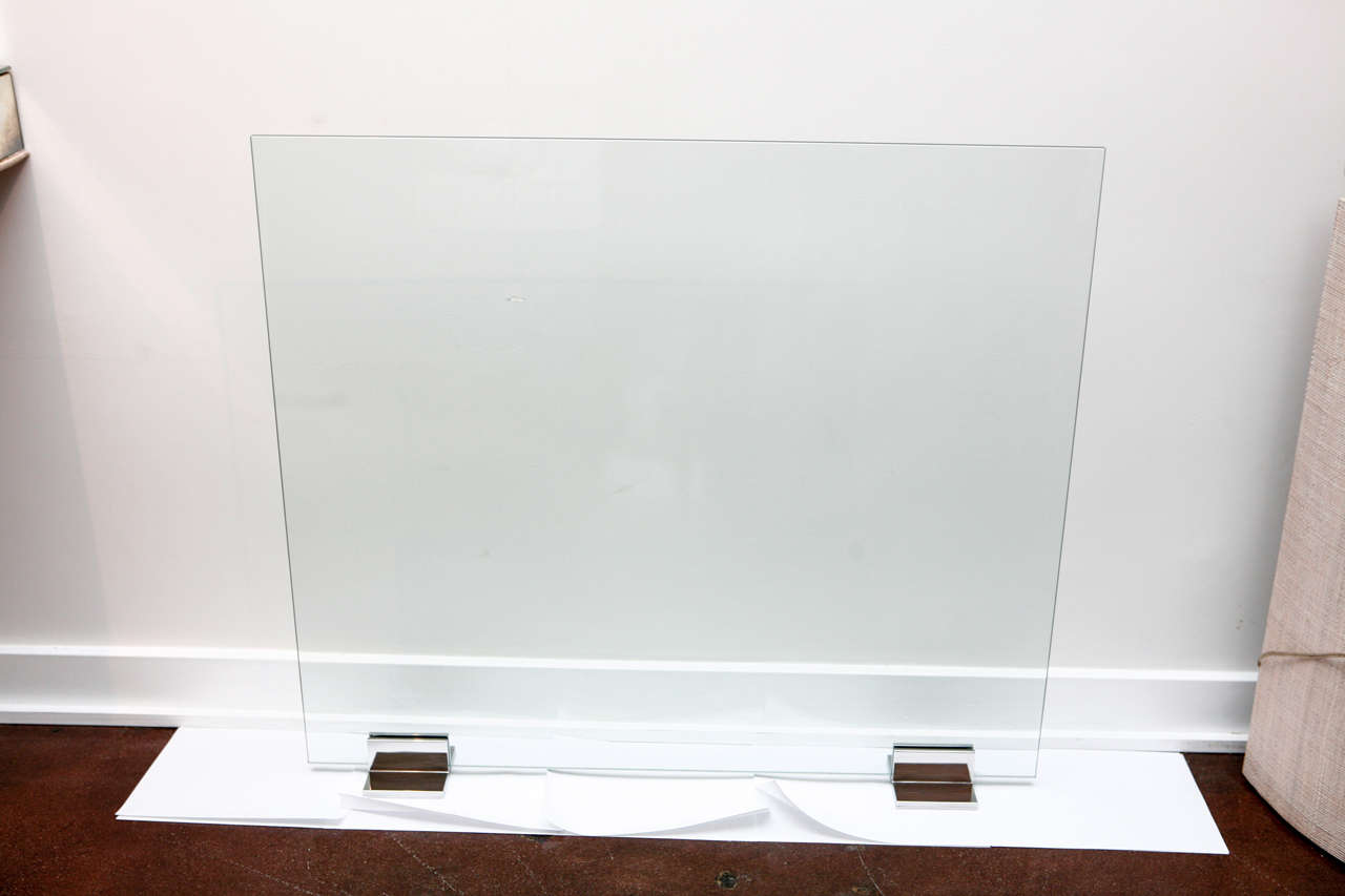 Contemporary Glass And Chrome Fire Screen At 1stdibs