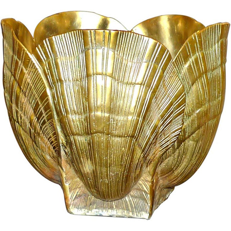 Solid Brass Cache Pot Jardiniere In Seashell Form At 1stdibs