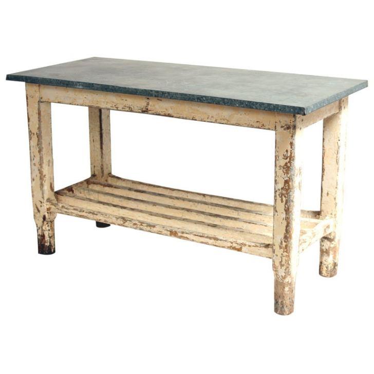 Vintage Galvanized Work Table Kitchen Island 1stdibs