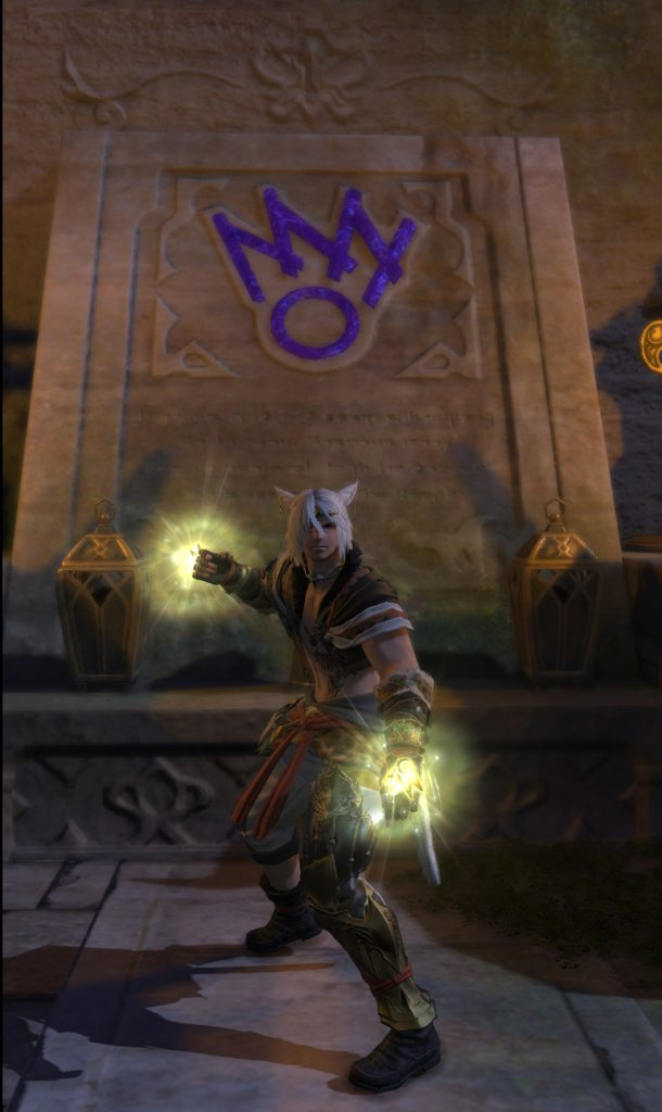 Rakuno showing off the level 70 monk gear