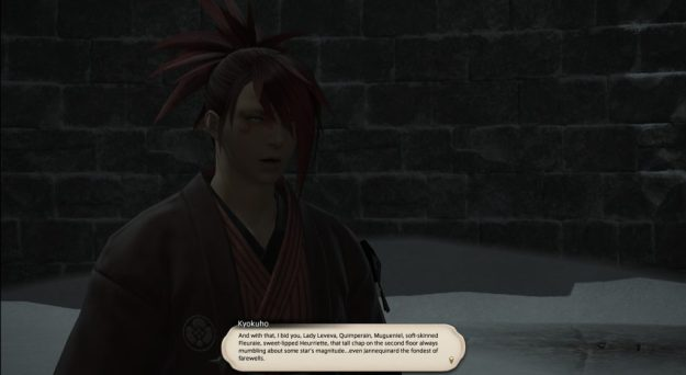 Kyokuho listing the people at the Aethernaum that he wishes to send farewells to