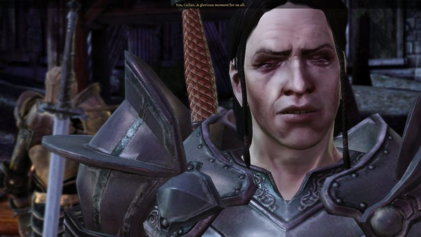 """Loghain in a cutscene saying to Cailan how it will be """"glorious moment"""" for them all."""