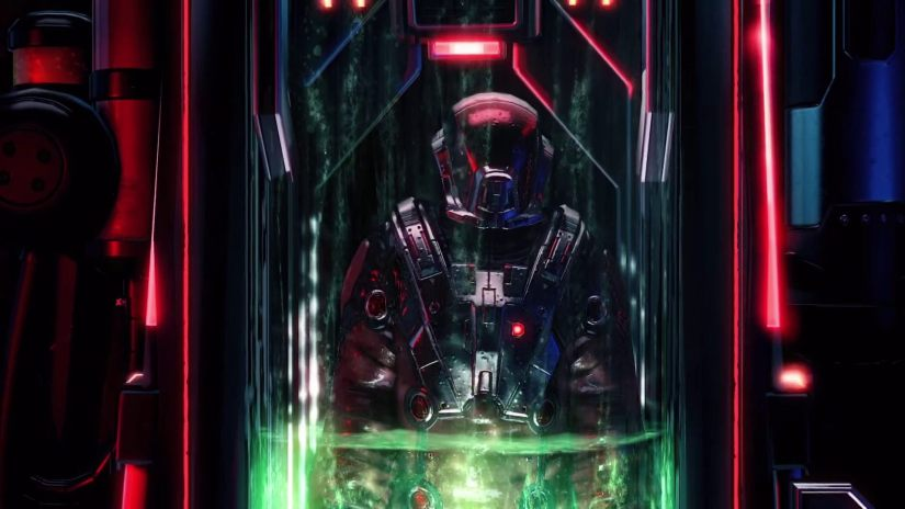 The commander wearing some weird suit, trapped in a glass tube that has green liquid being drained out of it.