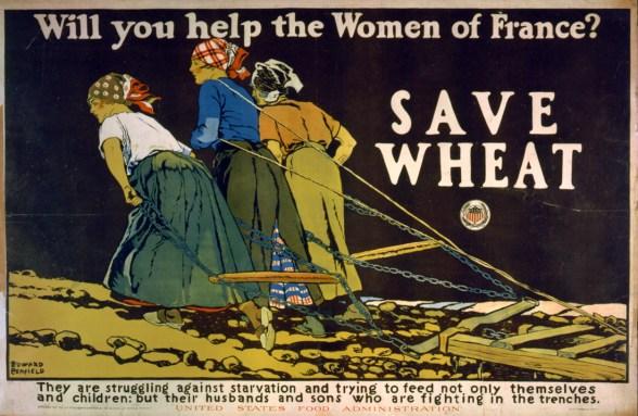 Cartel que muestra tres mujeres tirando de arado en un campo (Biblioteca del Congreso)