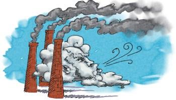 Ilustración del humo de una fábrica y viento (Depto. de Estado/Doug Thompson)