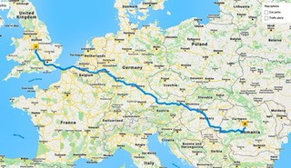 a map highlighting the length of the journey