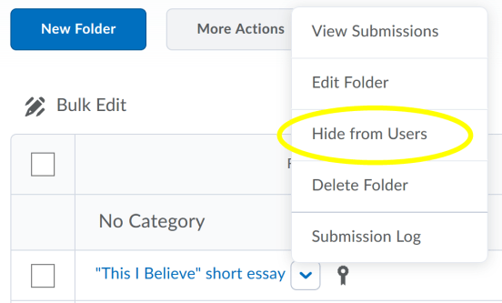 Hide Submissions Folder