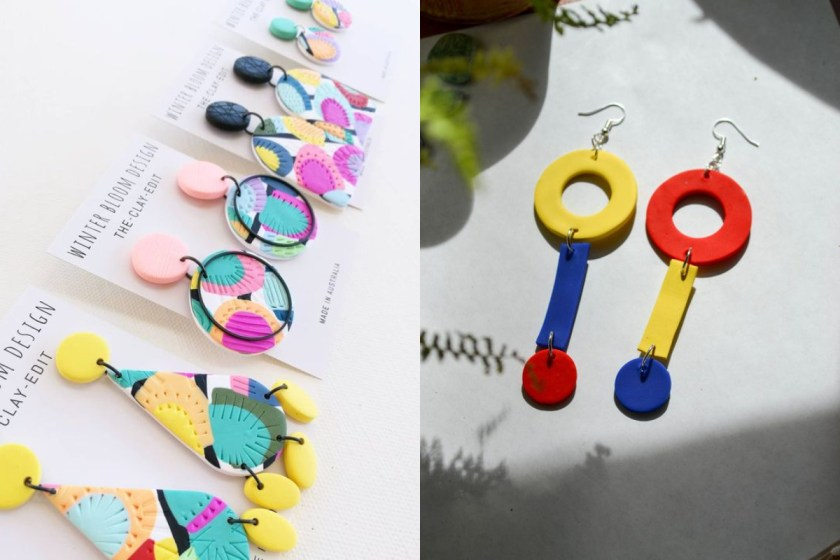 利用 2 到 3 種鮮豔的顏色,設計出不同的型狀或是幾何圖案,再用顛倒的比,塑造了大膽前衛又不失協調感的的性格飾品。
