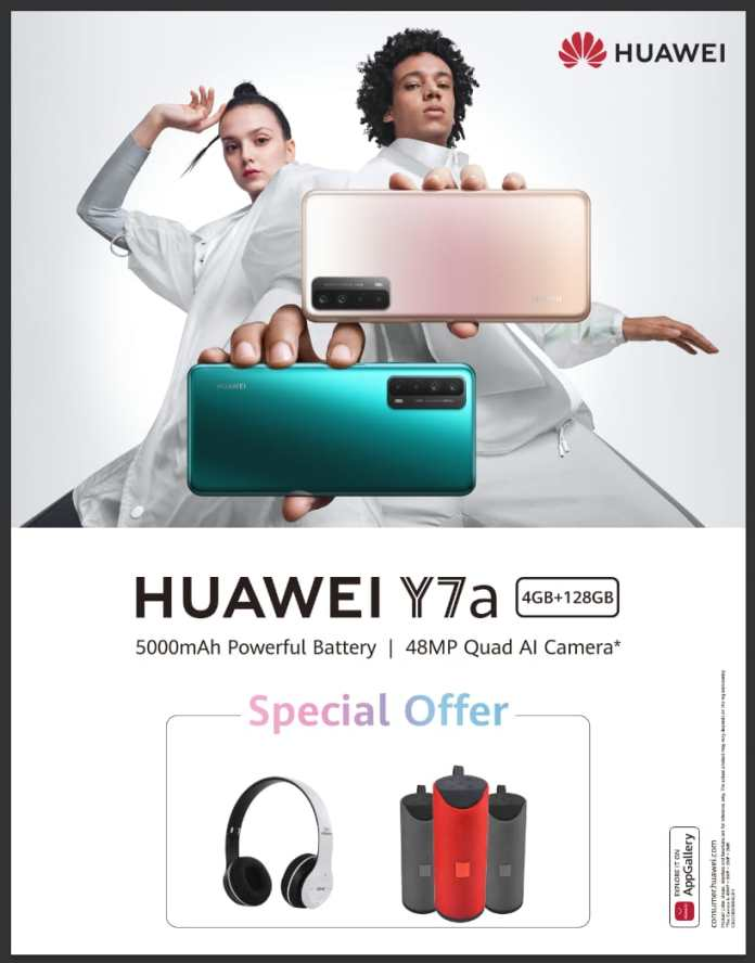 Huawei Y7a with 48MP Camera, also offers 'FREE' head-phones & speakers