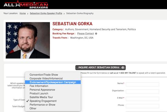 Seb Gorka Speaker Bio