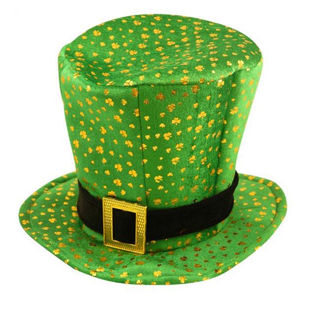 ST PATRICKS DAY FANCY DRESS LEPRECHAUN GREEN HAT CLOVERS