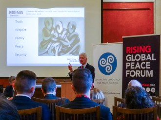 Professor Mike HARDY. Rising Global Peace Forum and Centre for Democracy and Peace Building seminar, Parliament Buildings, Belfast, Northern Ireland. @RISINGforum @CDPB_NI