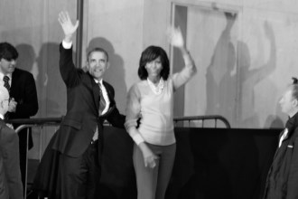 US President Barack OBAMA and wife US First Lady Michelle OBAMA leave the stage (c) Allan LEONARD @MrUlster