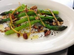 Ahuriri asparagus, burrata, salted almonds, olive powder