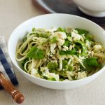 Linguine with rocket, marinated feta, broad beans, pine nuts