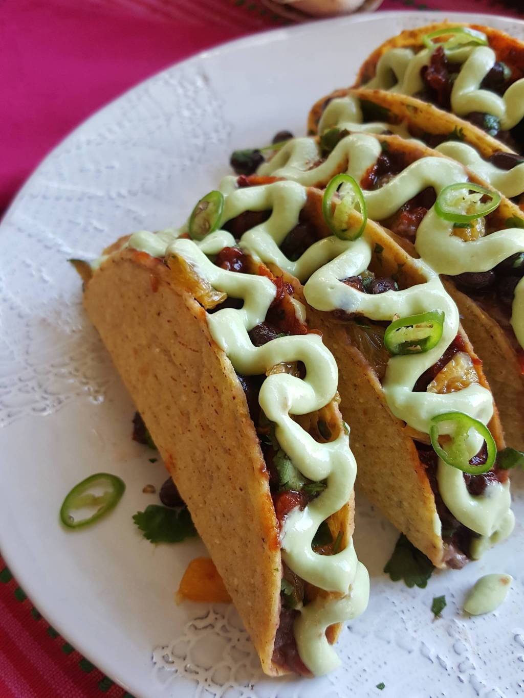 Black bean tacos with avocado cream