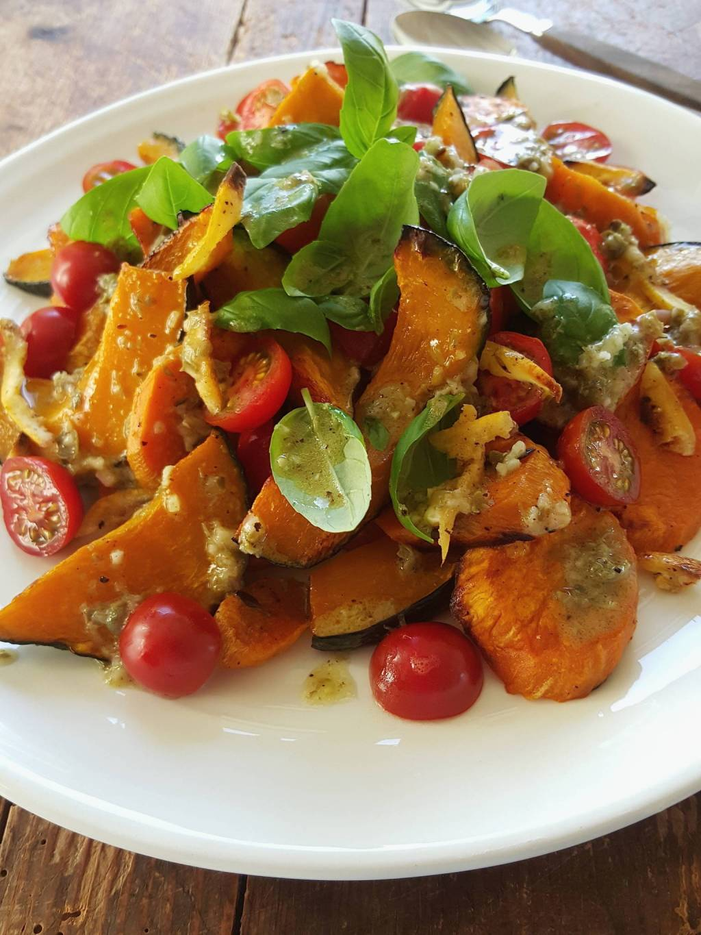 Roasted pumpkin & kumara salad