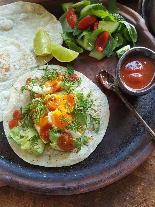 Soft wheat tortillas with eggs & avo