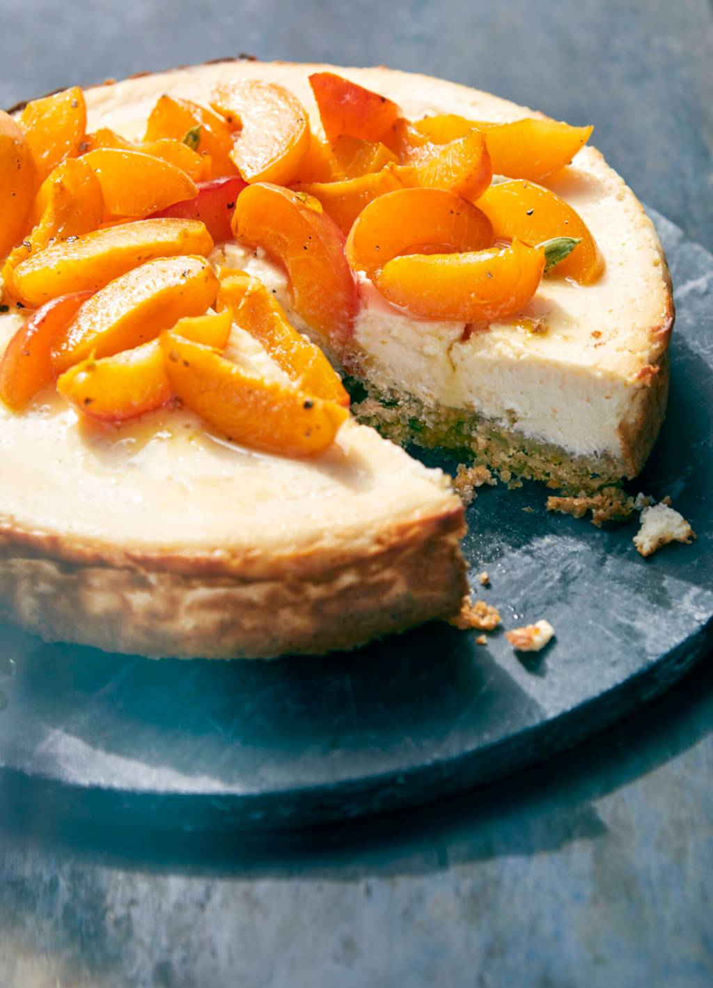 Labneh Cheesecake with Roasted Apricots