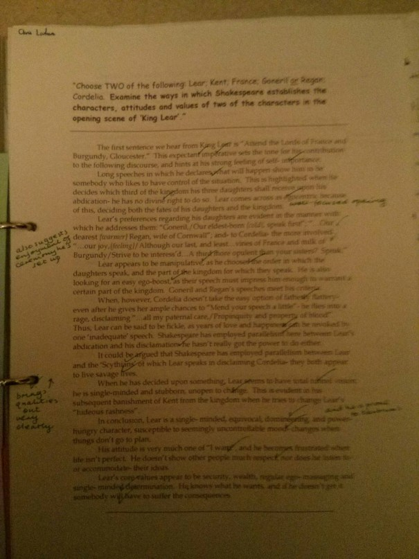 Image of the first feedback sheet critiquing Chris Larham's essay on King Lear (B++, 2001/2002).