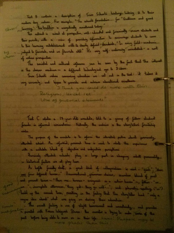 Image of the second marked sheet of Chris Larham's comparative writing assignment ('B-', 2001/2002).