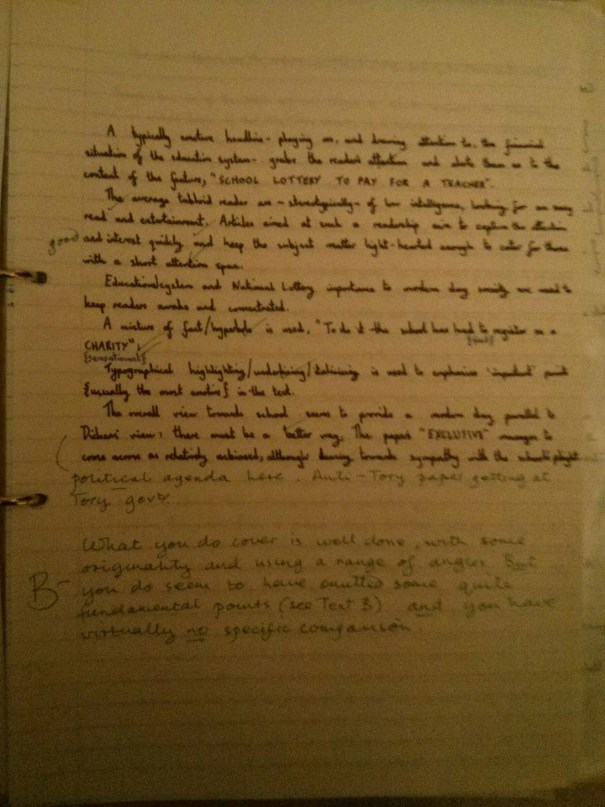 Image of the final marked page of Chris Larham's comparative writing assignment (B-, 2001/2002).