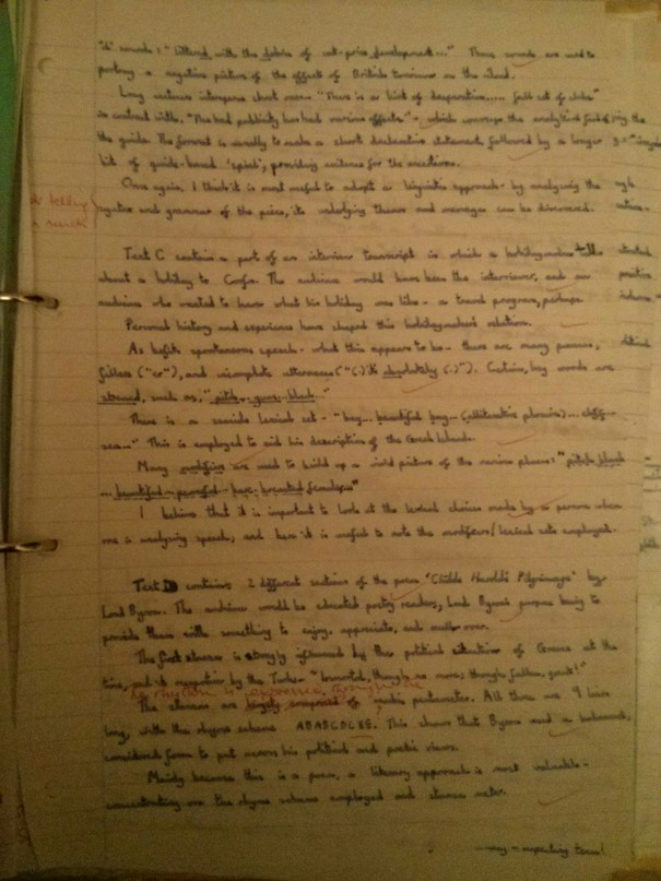 Image of the second marked page of Chris Larham's comparative writing assignment (38 out of 50, 2001/2002).
