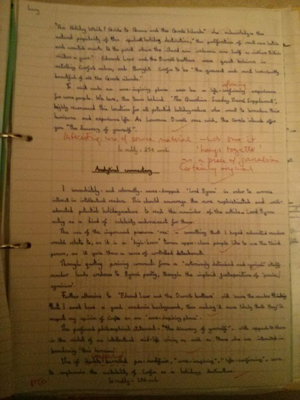 Image of the fourth marked page of Chris Larham's comparative writing assignment (38 out of 50, 2001/2002).