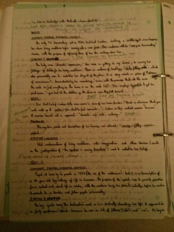 Image of the second marked page of Chris Larham's comparative writing assignment ('B' grading, 2001/2002).