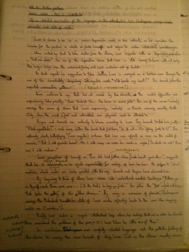 Image of the first marked page of Chris Larham's essay on King Lear (18 out of 25, 2001/2002).