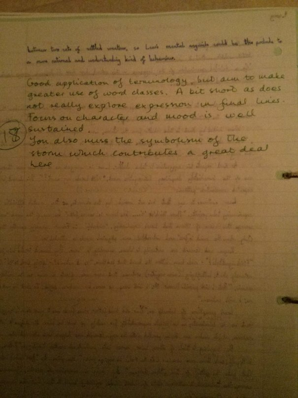 Image of the second marked page of Chris Larham's essay on King Lear (18 out of 25, 2001/2002).