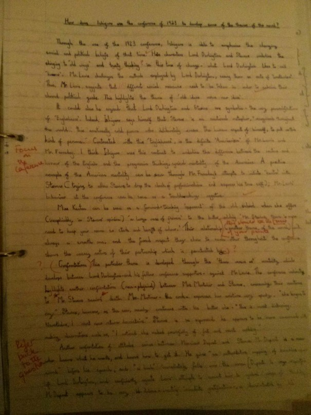 Image of the first marked page of Chris Larham's essay on Kazuo Ishiguro's 'The Remains of the Day' ('B' grading, 2001/2002).