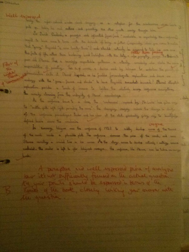 Image of the third and final marked page of Chris Larham's essay on Kazuo Ishiguro's 'The Remains of the Day' ('B' grading, 2001/2002).
