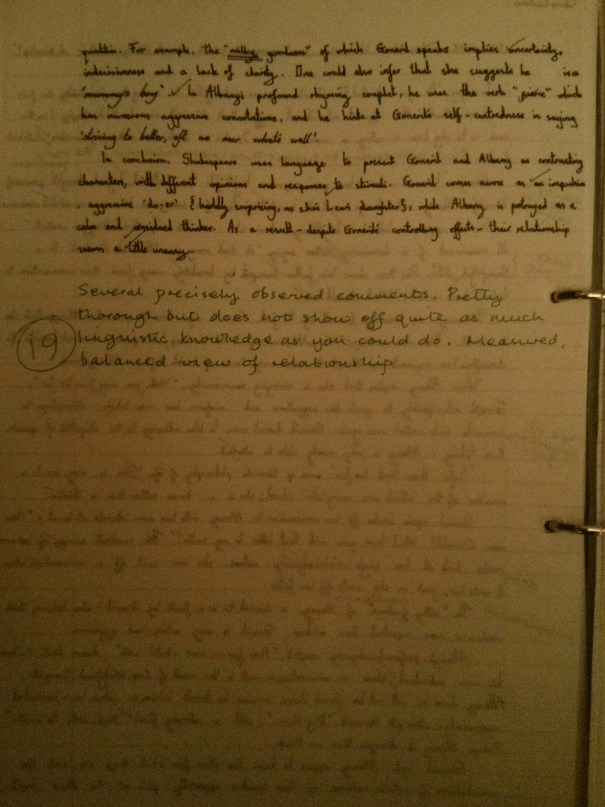 Image of the second and final marked page of Chris Larham's essay on 'King Lear' (19 out of 25, 2001/2002).