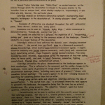 Image of the first marked page of Chris Larham's essay on 'Kubla Kahn', 'Dover Beach', and 'Spellbound' (22 out of 25, 2000/2001).