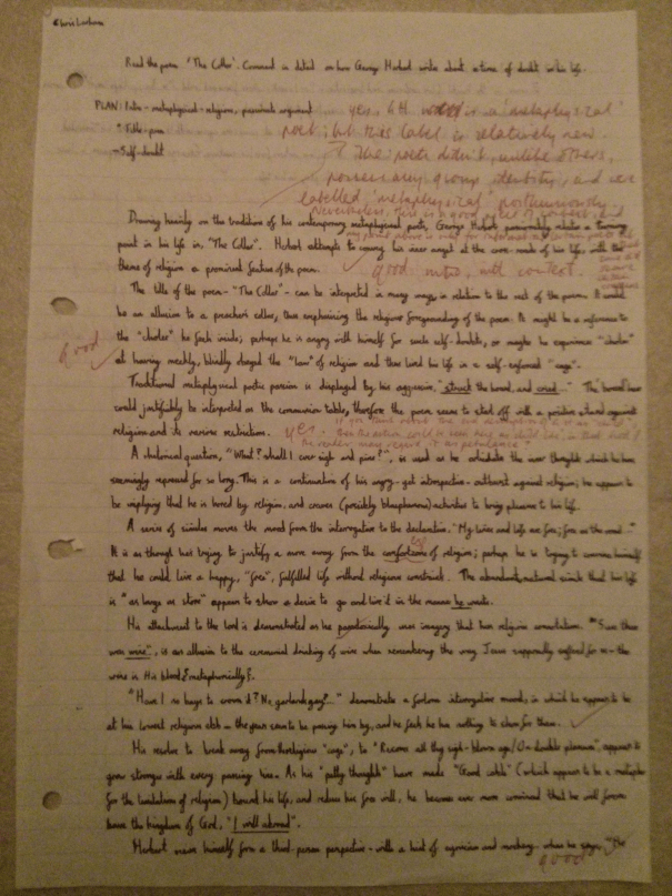Image of the first marked page of Chris Larham's essay on 'The Collar' [22 out of 25, 2000/2001].