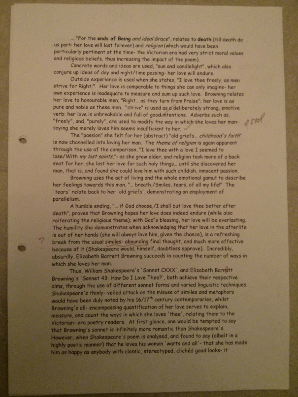 Image of the fourth marked page of Chris Larham's poetry essay (23 out of 25, 2000/2001).