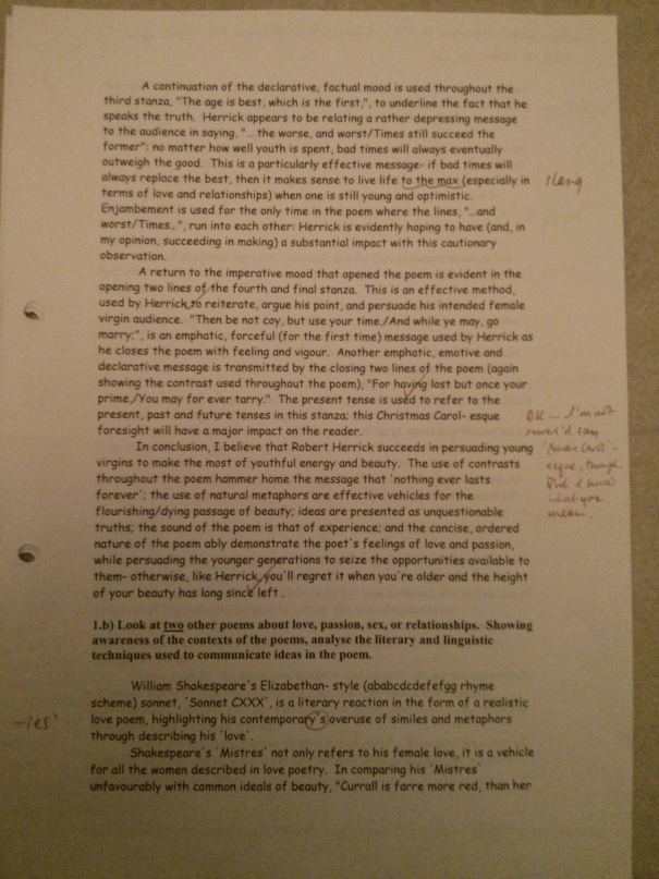 Image of the second marked page of Chris Larham's poetry essay (23 out of 25, 2000/2001).