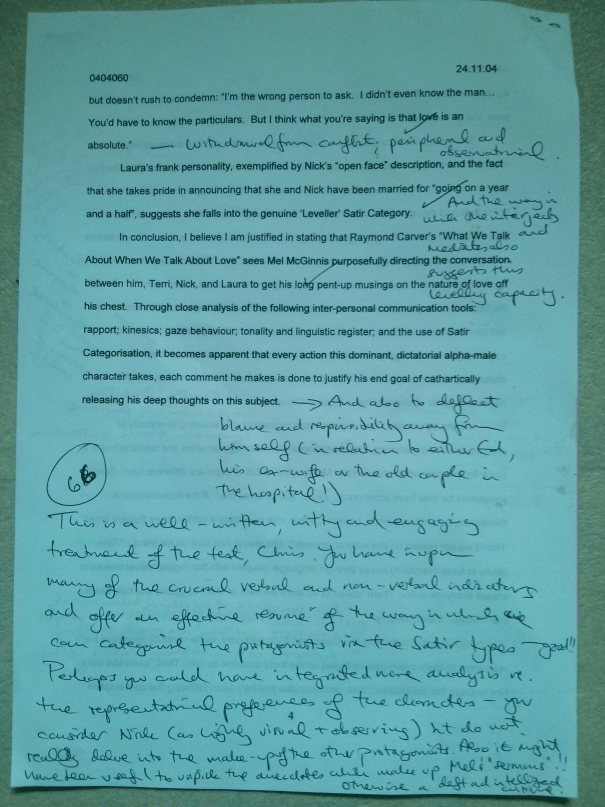 "Image of the fourth and final marked page of Chris Larham's 1,000 word critique of Raymond Carver's ""What We Talk About When We Talk About Love"" [66%, 2004]."