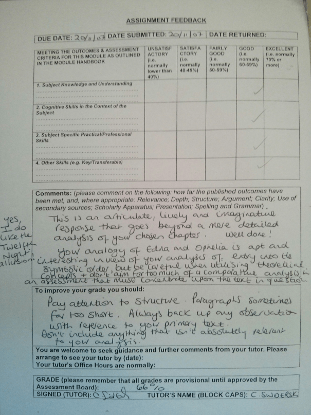 An image of the feedback sheet [critique and grading] for Chris Larham's 1,500 word close textual analysis of chapter thirty-nine of Kate Chopin's 'The Awakening' [66%, 2007].