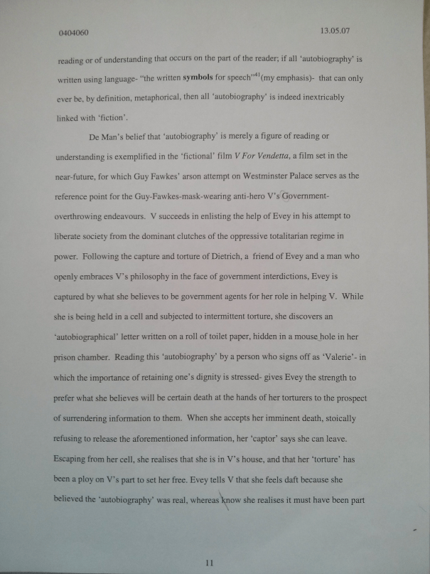 An image of the eleventh marked page of Chris Larham's essay on the interplay between 'autobiography' and 'fiction' [70%, 2007].